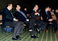 """Il Prof. Gherlone assieme al Prof. Giorgio Blasi al Prof. Ivano Casartelli ed al Dott. Prosper loris ad un memorial Biaggi degli """"amici di Brugg"""" nel 1996"""